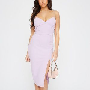 Lilac Sweetheart Neck Slit Midi Dress (NWT)